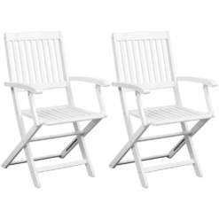 Dining Chairs 2 pcs Solid Acacia Wood White | Furniture Supplies UK