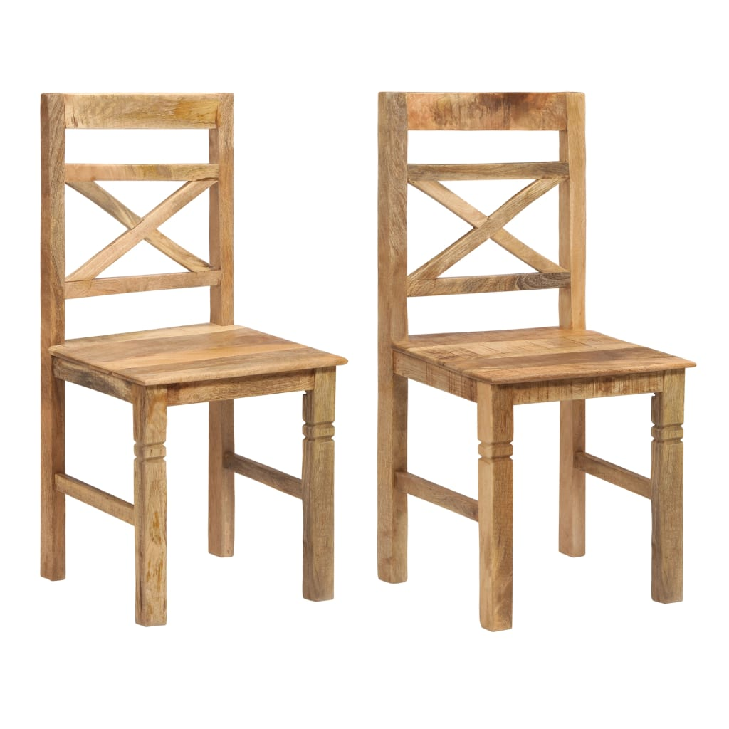 Dining Chairs 2 pcs Solid Mango Wood | Furniture Supplies UK