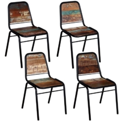 Dining Chairs 4 pcs Solid Reclaimed Wood 44x59x89 cm | Furniture Supplies UK