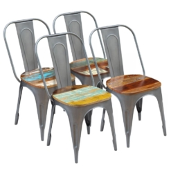 Dining Chairs 4 pcs Solid Reclaimed Wood 47x52x89 cm | Furniture Supplies UK