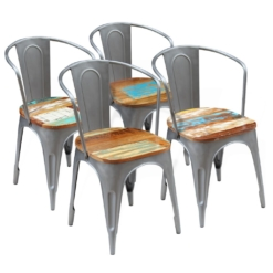Dining Chairs 4 pcs Solid Reclaimed Wood 51x52x80 cm | Furniture Supplies UK