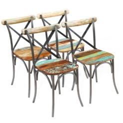 Dining Chairs 4 pcs Solid Reclaimed Wood 51x52x84 cm | Furniture Supplies UK