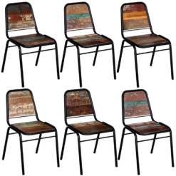 Dining Chairs 6 pcs Solid Reclaimed Wood 44x59x89 cm | Furniture Supplies UK