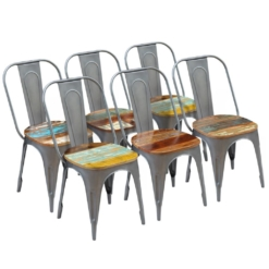 Dining Chairs 6 pcs Solid Reclaimed Wood 47x52x89 cm | Furniture Supplies UK