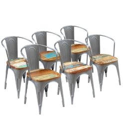 Dining Chairs 6 pcs Solid Reclaimed Wood 51x52x80 cm | Furniture Supplies UK