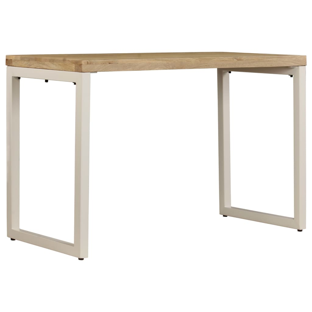 Dining Table 115x55x76 cm Solid Mango Wood and Steel |  | Brown