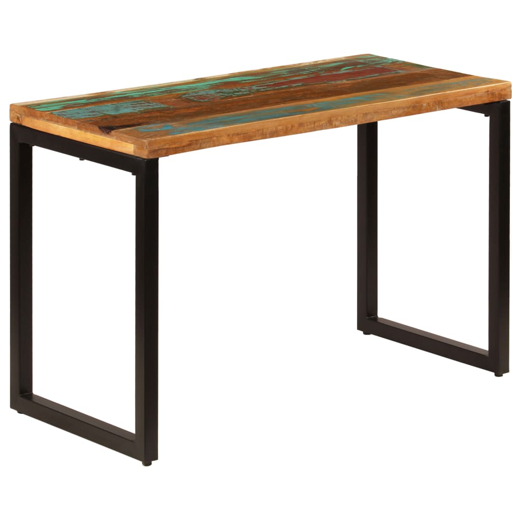 Dining Table 115x55x76 cm Solid Reclaimed Wood and Steel | Furniture Supplies UK