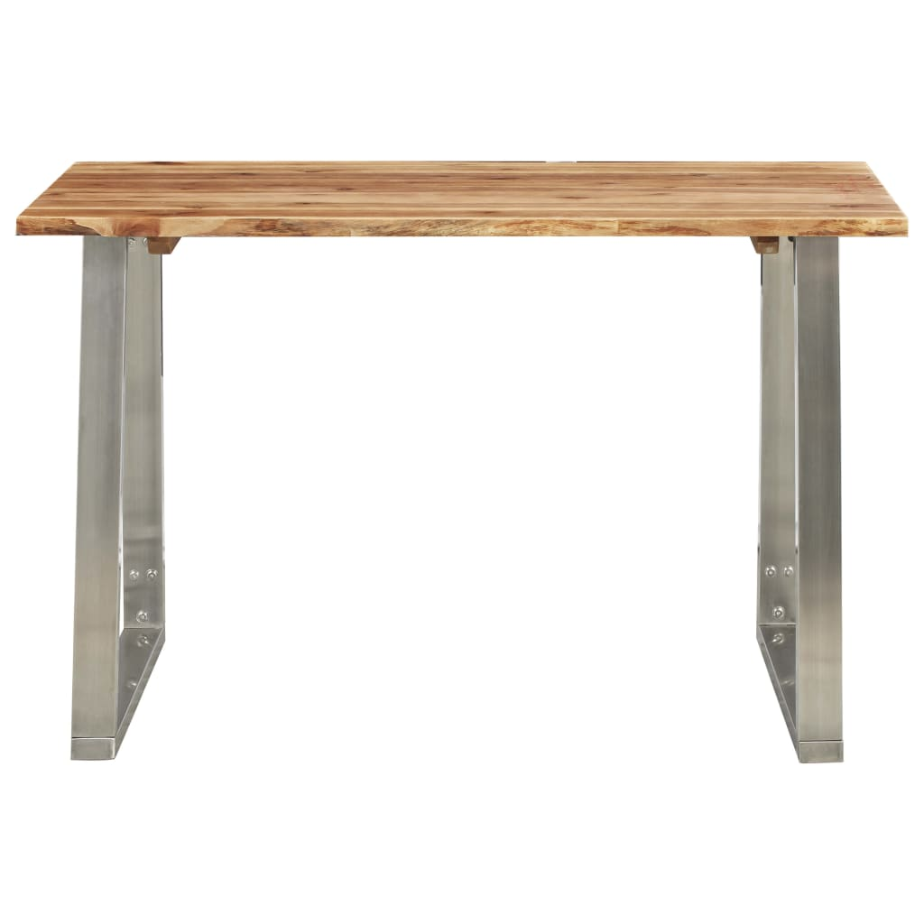 Dining Table 120x65x75 cm Solid Acacia Wood and Stainless Steel |  | Brown