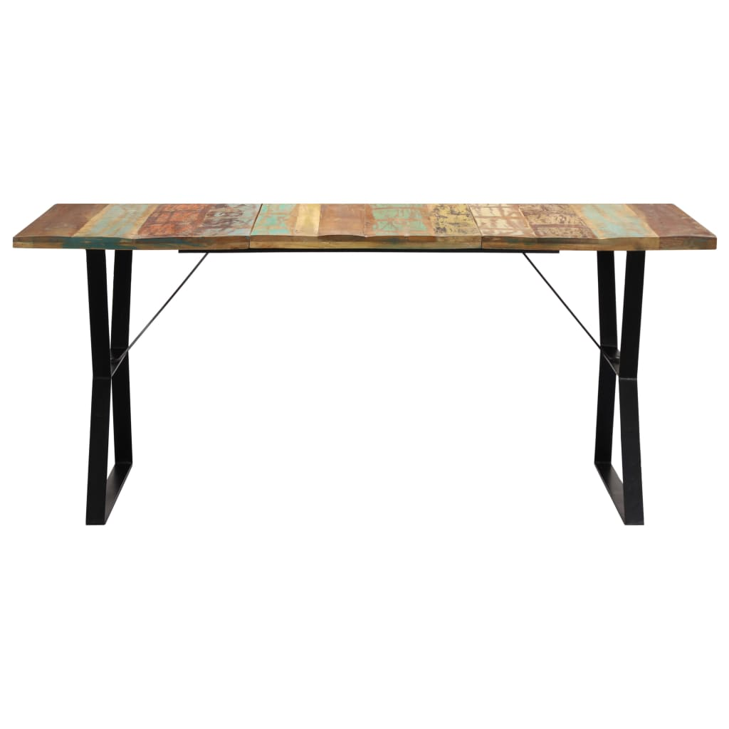 Dining Table 180x90x76 cm Solid Reclaimed Wood |  | Multicolour