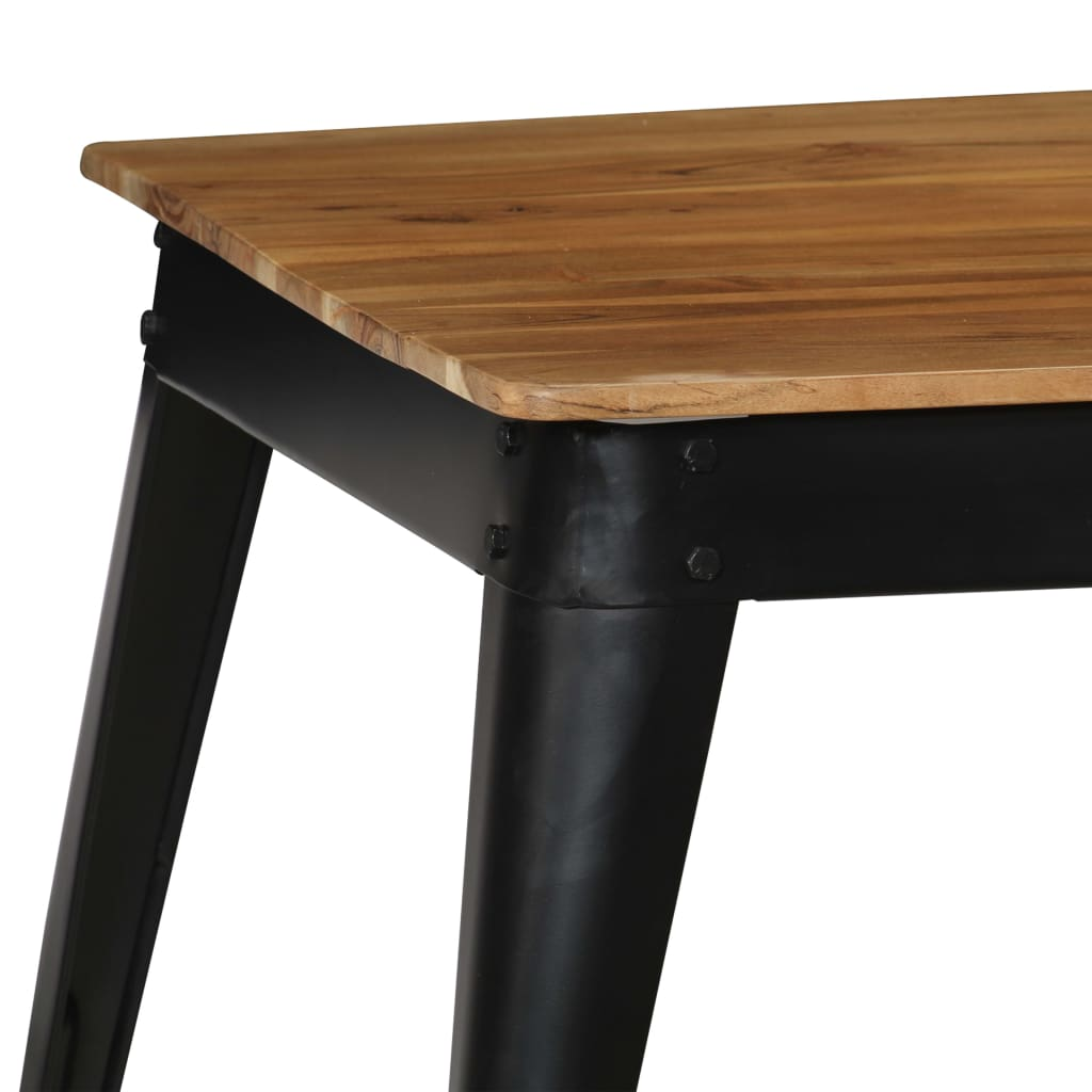 Dining Table Solid Acacia Wood and Steel 75x75x76 cm