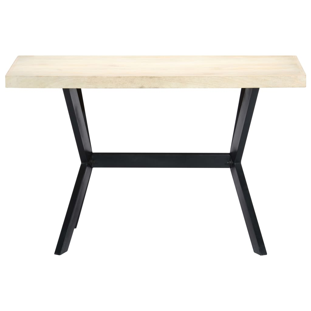 Dining Table White 120x60x75 cm Solid Mango Wood |  | White