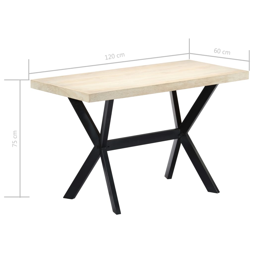 Dining Table White 120x60x75 cm Solid Mango Wood