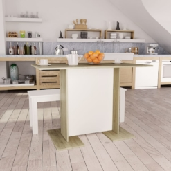 Dining Table White and Sonoma Oak 110x60x75 cm Chipboard | Furniture Supplies UK