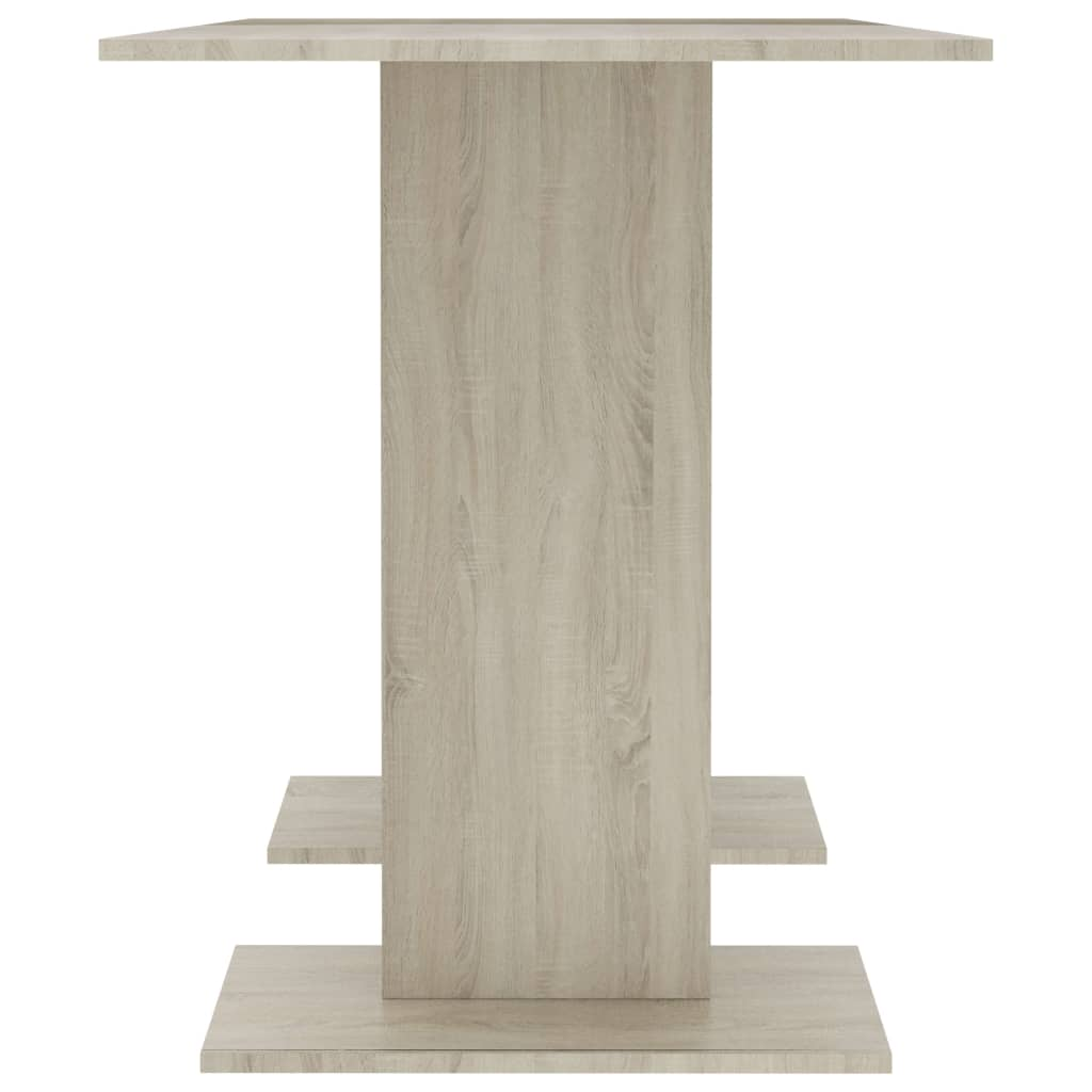 Dining Table White and Sonoma Oak 110x60x75 cm Chipboard