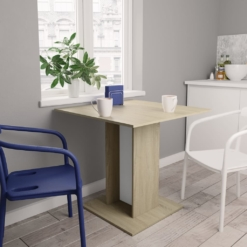 Dining Table White and Sonoma Oak 80x80x75 cm Chipboard | Furniture Supplies UK