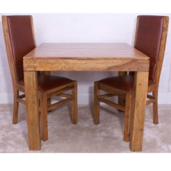 Divine Sheesham Square Dining Table & 2 Chairs | Furniture Supplies UK