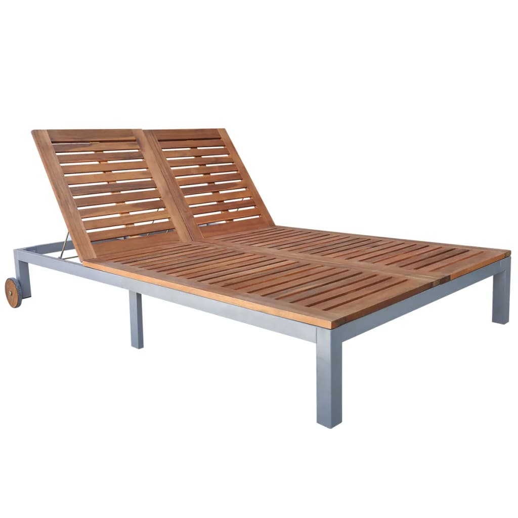 Double Sun Lounger Solid Acacia Wood | Furniture Supplies UK