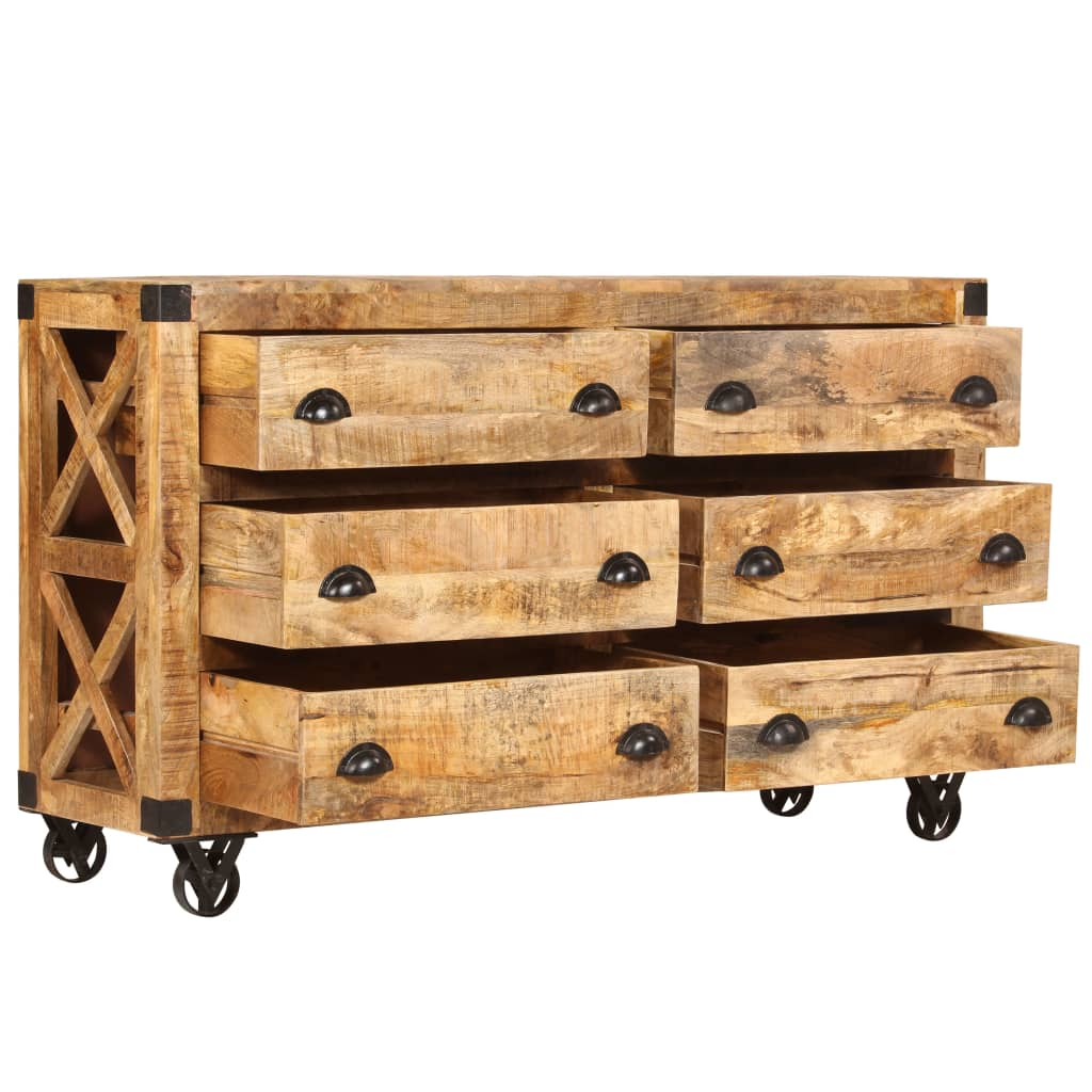 Drawer Cabinet Solid Mango Wood and Cast Iron 150x40x86 cm