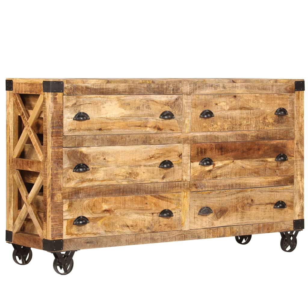 Drawer Cabinet Solid Mango Wood and Cast Iron 150x40x86 cm | Furniture Supplies UK