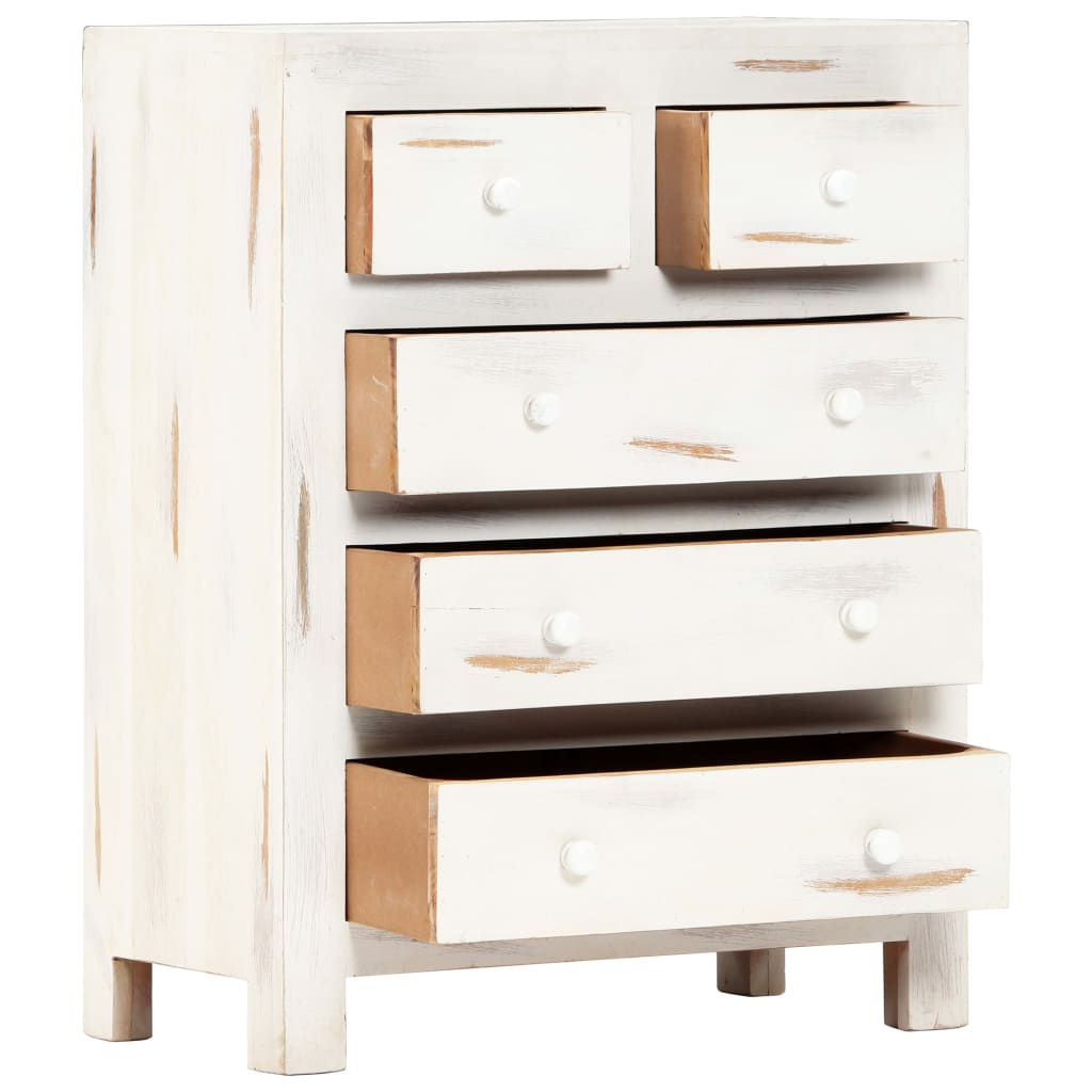 Drawer Cabinet White 58x30x75 cm Solid Acacia Wood