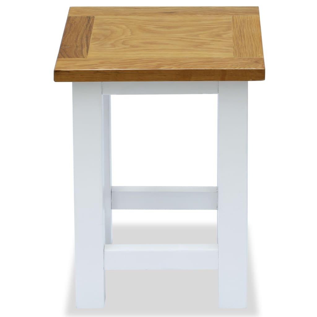 End Table 27x24x37 cm Solid Oak Wood |  | White