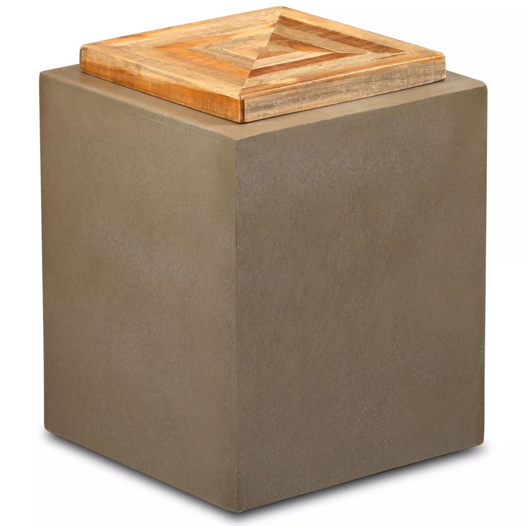 End Table Reclaimed Teak and Concrete 35x35x45 cm | Furniture Supplies UK