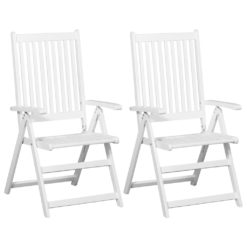 Folding Dining Chairs 2 pcs Solid Acacia Wood White | Furniture Supplies UK
