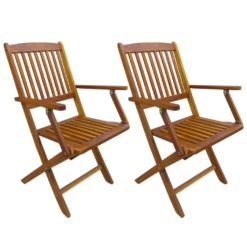 Folding Outdoor Chairs 2 pcs Solid Acacia Wood | Furniture Supplies UK