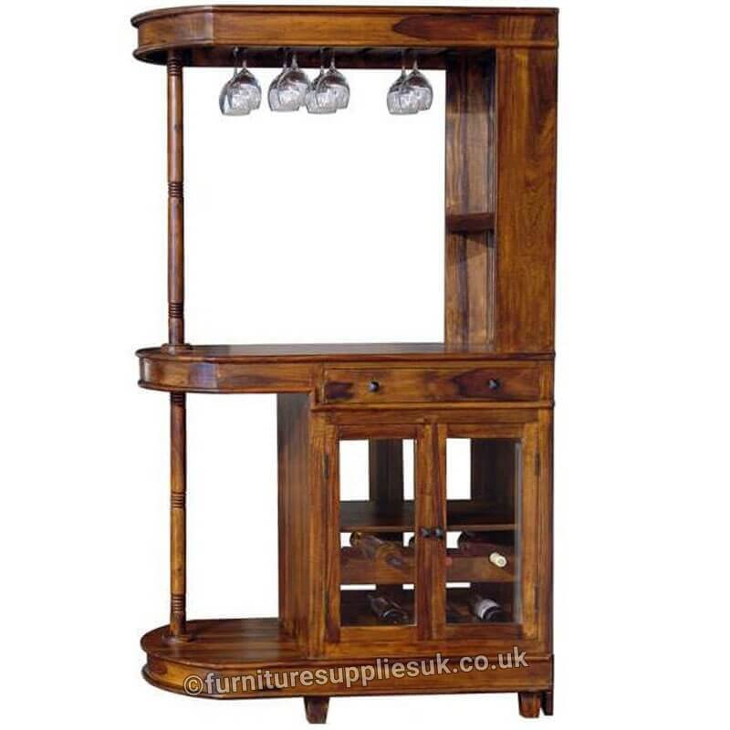 Ganga Nagin Long Bar Cabinet Sheesham Wood | Furniture Supplies UK