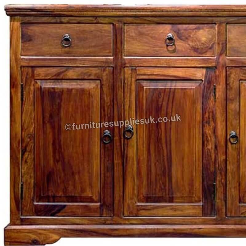 Ganga Range Jali 3 Door 3 Drawer Sideboard | Rosewood |