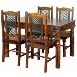 Ganga Range Jali Small Dining Table With 4 Chairs | Furniture Supplies UK