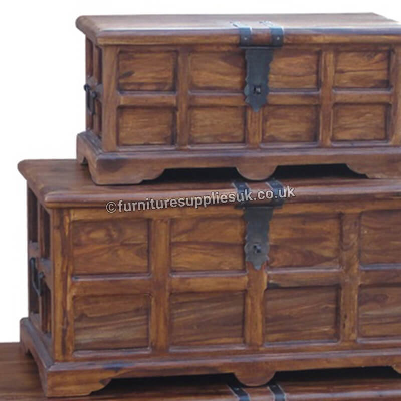 Ganga Range Jali Storage Chests (Set of 3) | Rosewood |