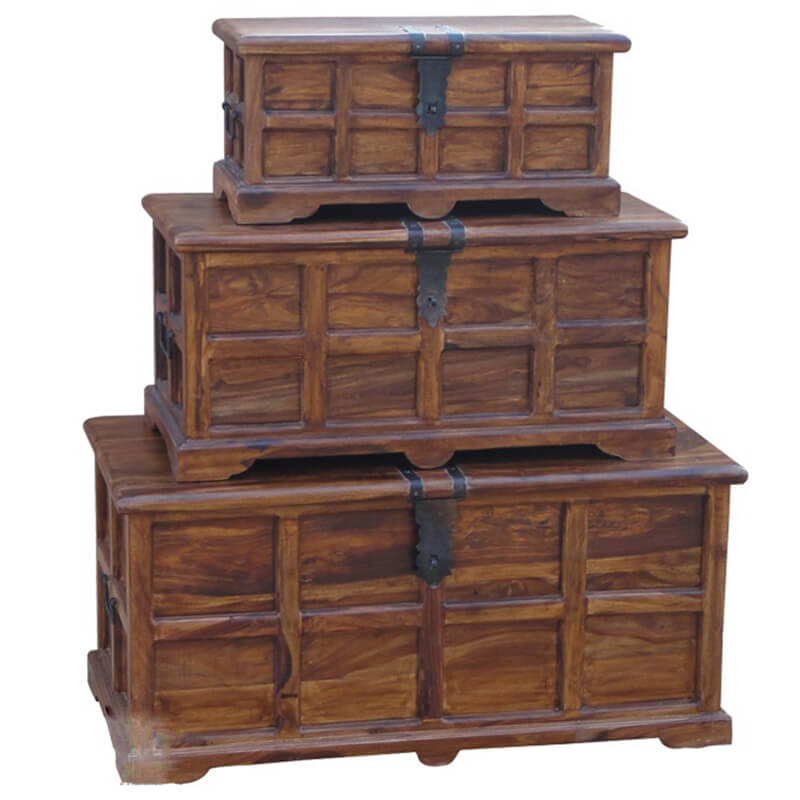 Ganga Range Jali Storage Chests (Set of 3) | Furniture Supplies UK
