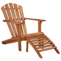 Garden Adirondack Chair with Footrest Solid Acacia Wood | Furniture Supplies UK