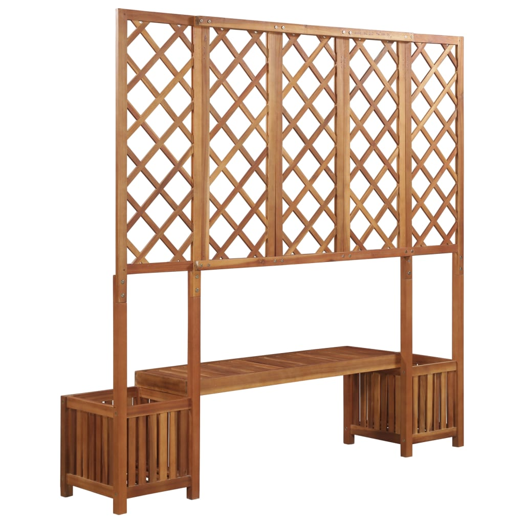 Garden Planter with Bench and Trellis Solid Acacia Wood |  | Brown
