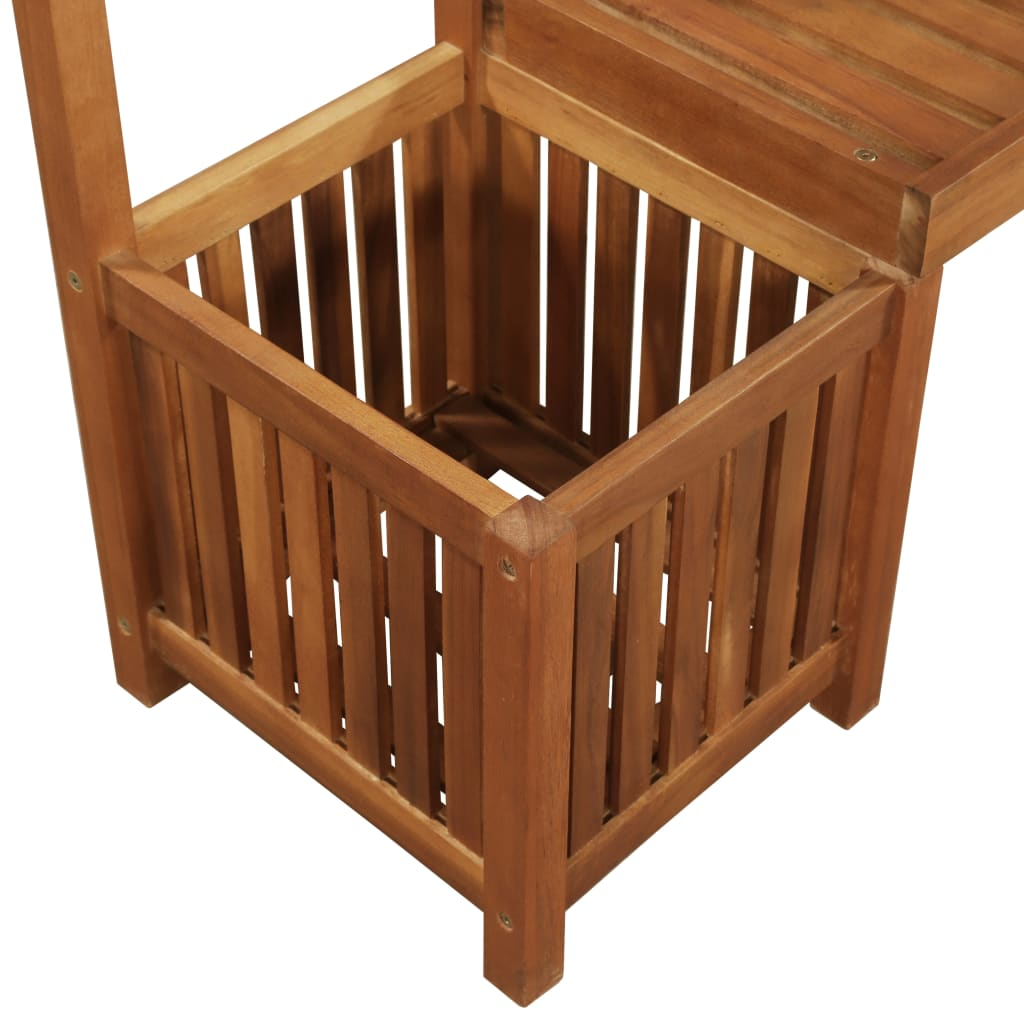 Garden Planter with Bench and Trellis Solid Acacia Wood