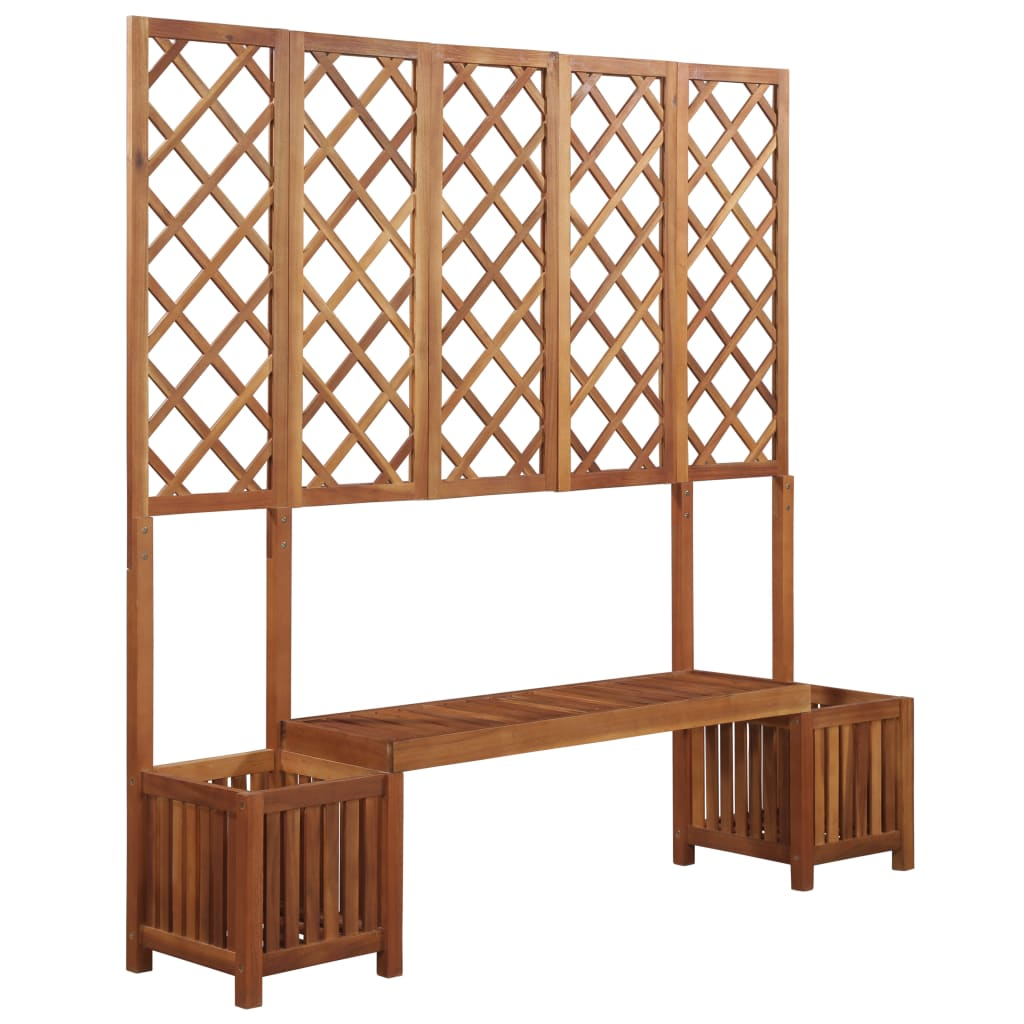 Garden Planter with Bench and Trellis Solid Acacia Wood | Furniture Supplies UK