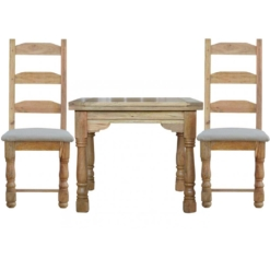 Granary Royale Butterfly Dining Table and 2 Chairs (Leather Seat)   Furniture Supplies UK