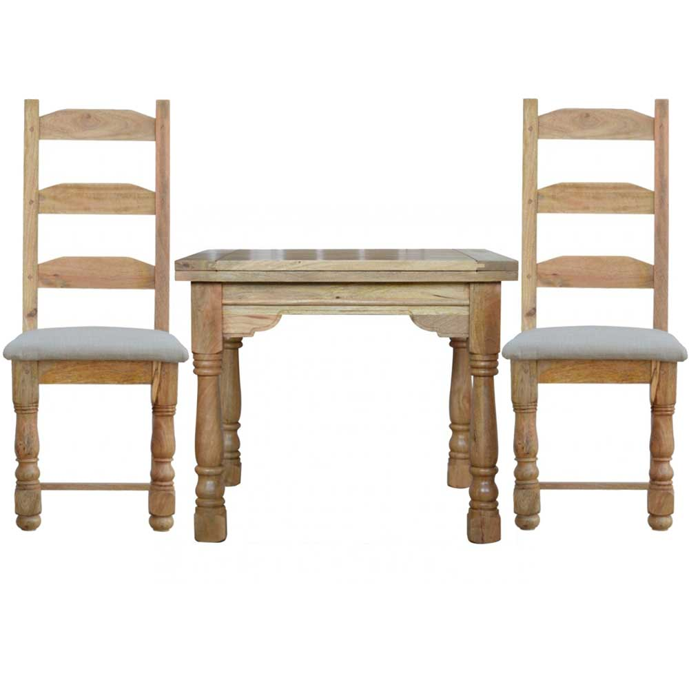 Granary Royale Butterfly Dining Table and 2 Chairs (Leather Seat) | Furniture Supplies UK