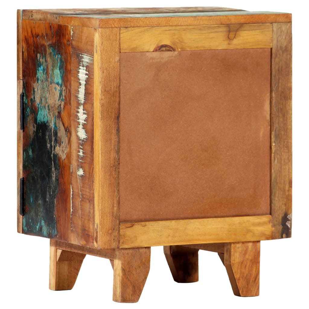 Hand Carved Bedside Cabinet 40x30x50 cm Solid Reclaimed Wood