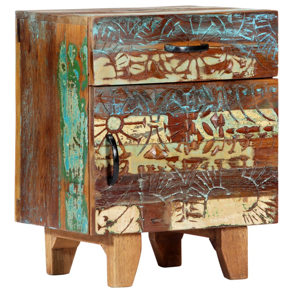Hand Carved Bedside Cabinet 40x30x50 cm Solid Reclaimed Wood | Furniture Supplies UK