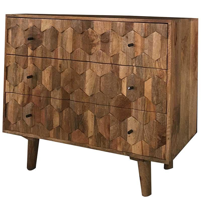 Hexagonal Retro Vintage 3 Drawer Chest Of Drawer   Furniture Supplies UK