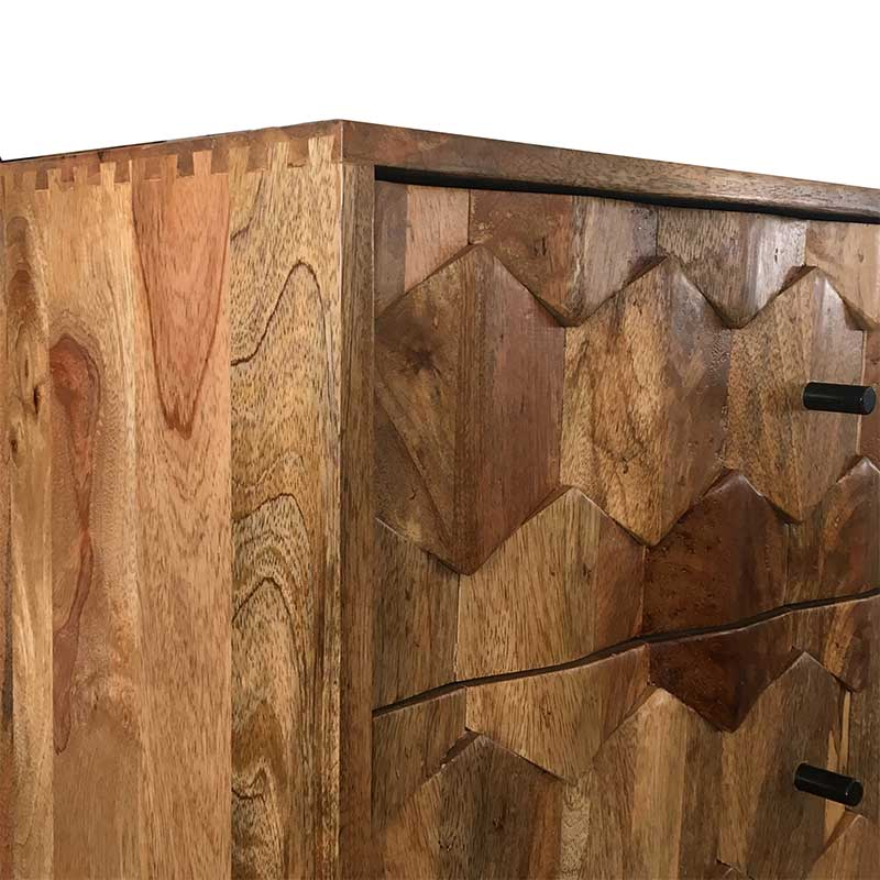 Hexagonal Retro Vintage Console Table 2 Drawer | Solid Wood |