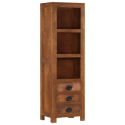 Highboard with 3 Drawers 40x30x130 cm Solid Mango Wood | Furniture Supplies UK