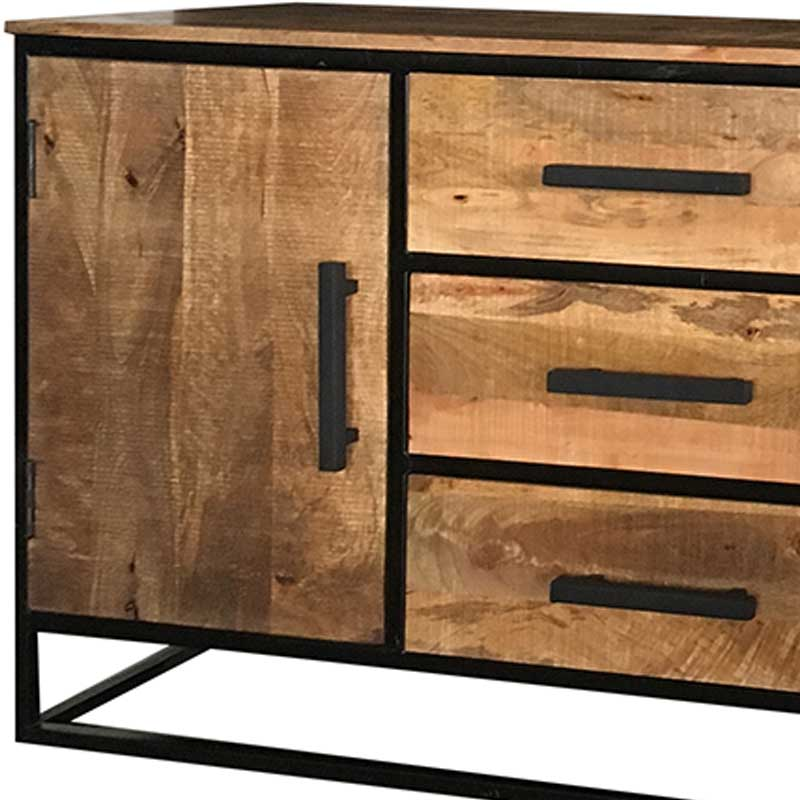 Industrial 2 Door 3 Drawer Sideboard | Light Mango | Solid Wood |