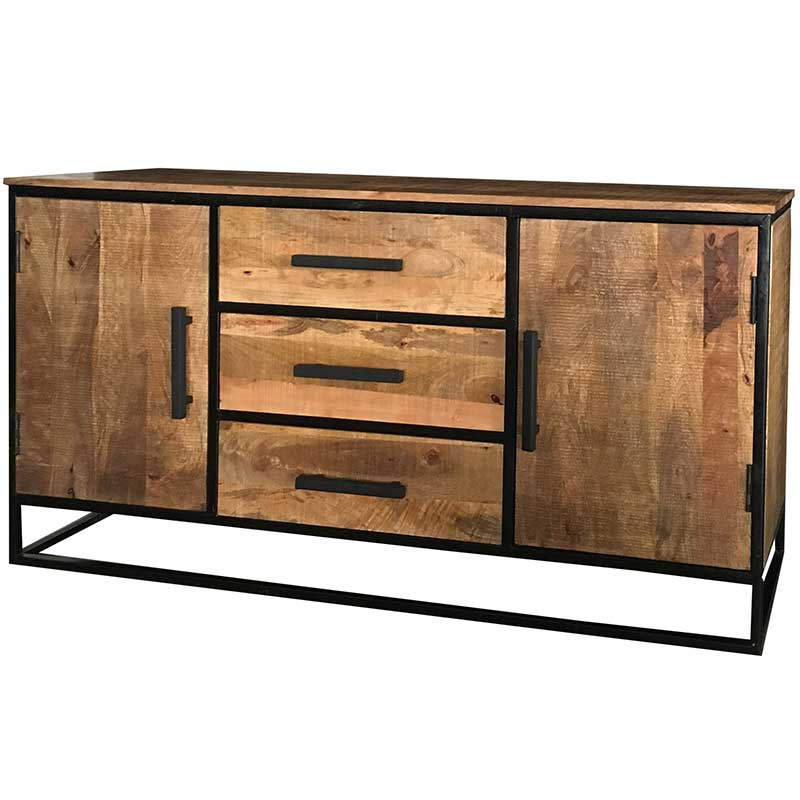 Industrial 2 Door 3 Drawer Sideboard | Light Mango | Furniture Supplies UK
