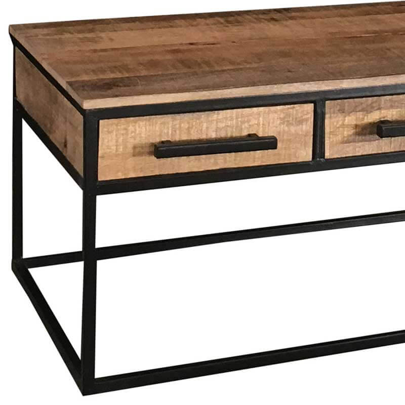 Industrial 3 Drawer Coffee Table | Light Mango | Solid Wood |