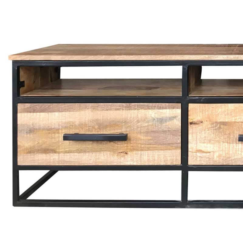 Industrial 3 Drawer TV Stand 170cm | Light Mango | Solid Wood |