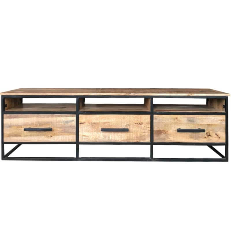 Industrial 3 Drawer TV Stand 170cm | Light Mango | Furniture Supplies UK
