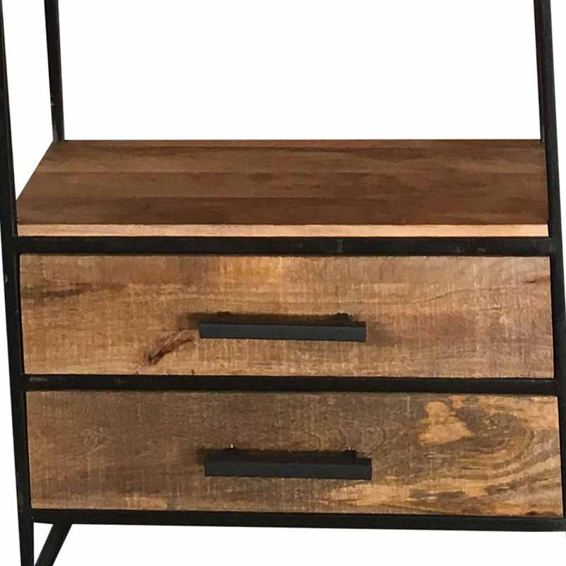 Industrial Bookcase 2 Drawer   Light Mango   Solid Wood  